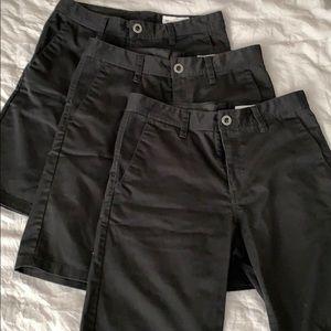 Lot of 3 boys Volcom shorts size 30 or 20 black